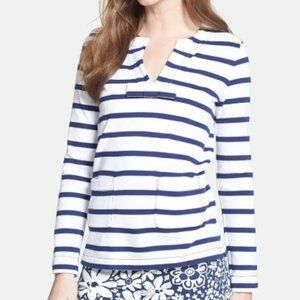 Kate Spade Striped Tropez Top Bow 3/4 Sleeve